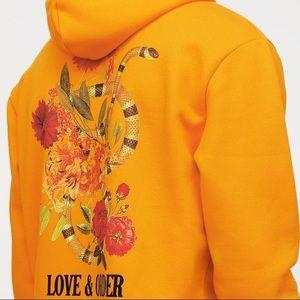 H&M LOVE AND ORDER ORANGE YELLOW HOODIE SWEATSHIRT